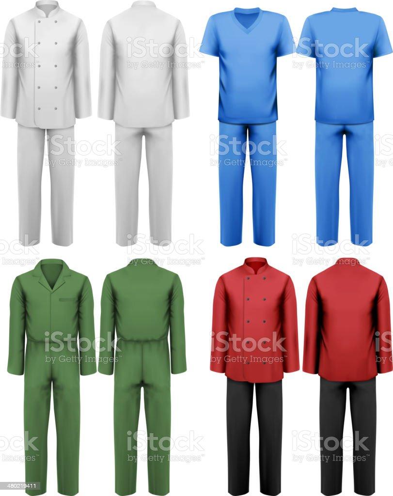 セットのホワイトとカラフルな作業服 デザインテンプレート ベクター