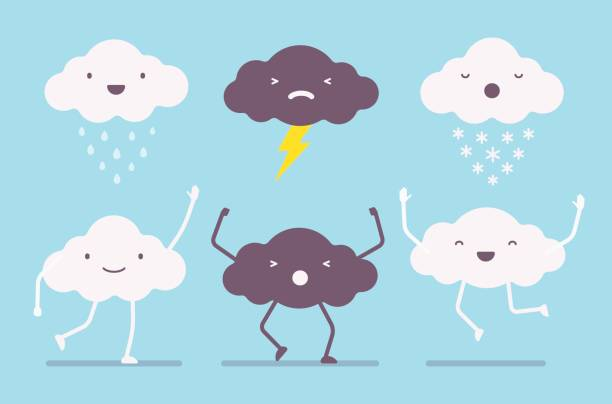 ilustrações, clipart, desenhos animados e ícones de conjunto de nuvens brancas e escuras - emoji de lágrimas de alegria