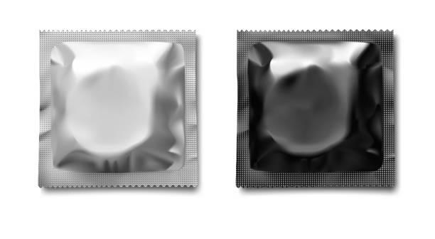 illustrazioni stock, clip art, cartoni animati e icone di tendenza di set of white and dark condom package template. - contraccettivo