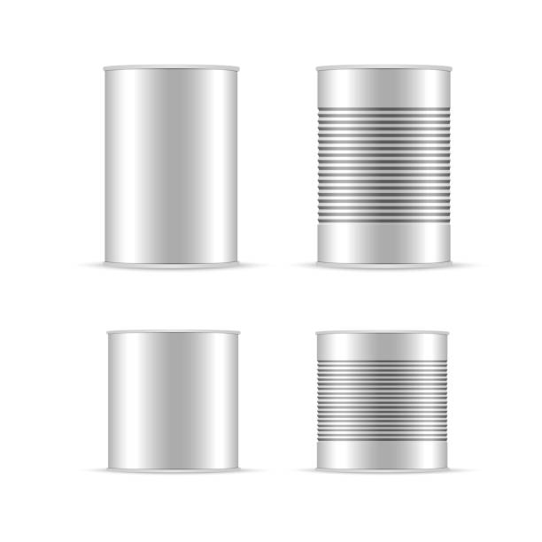 illustrazioni stock, clip art, cartoni animati e icone di tendenza di set of white and metallic tin can with white cap. bank canning object, bank food sign, vector realistic illustration. - box name