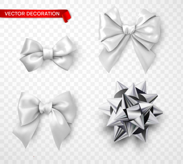 set of white and silver satin 3d bows isolated on transparent background. - kokarda stock illustrations