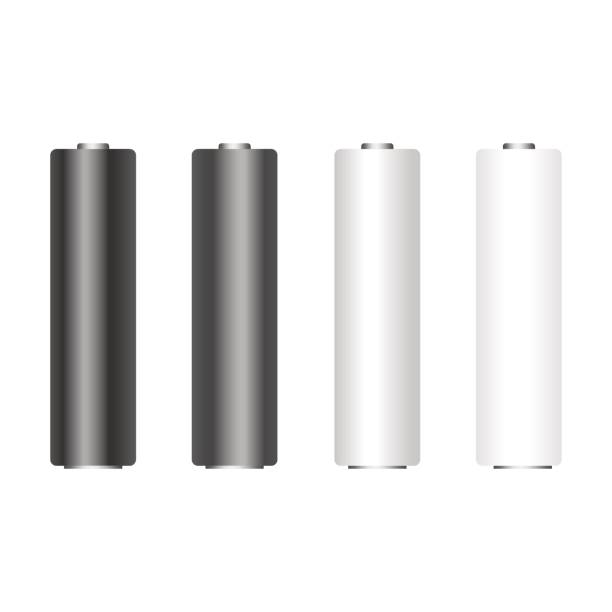 Set of white black alkaline AA batteries. Vector. vector art illustration