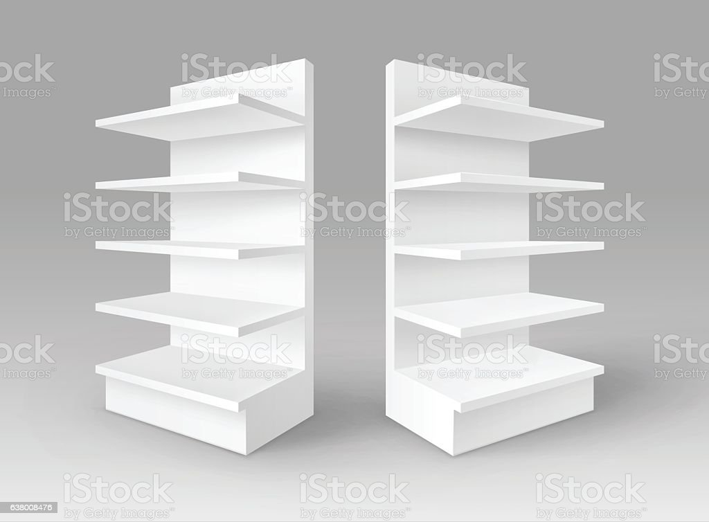 Set of White Blank Empty Exhibition Trade Stands Shop Racks