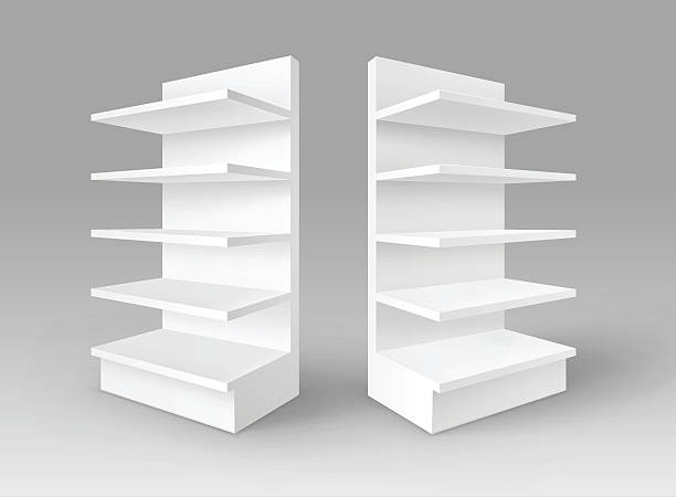 Set of White Blank Empty Exhibition Trade Stands Shop Racks vector art illustration