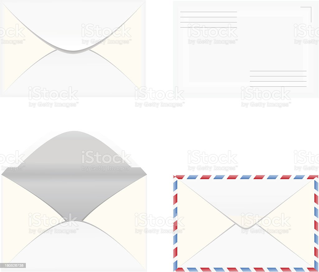 set of white blank envelopes royalty-free stock vector art
