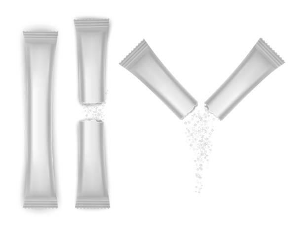 ilustrações de stock, clip art, desenhos animados e ícones de set of white blank foil packaging sachet coffee, salt, sugar, pepper or spices stick plastic pack ready for your design. - café solúvel