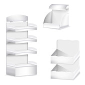 Promotion shelf. Set of white carton blank trade displays template empty supermarket shelves in perspective.