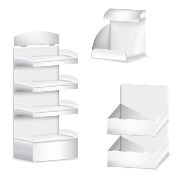 beyaz karton boş ticaret görüntüler şablonu ayarlayın. promosyon raf - sale stock illustrations