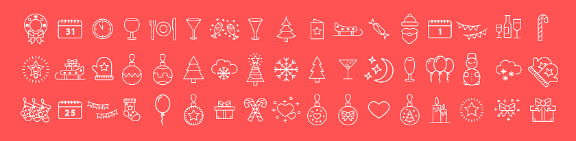 Set of white Christmas icons on a red background. Thin line. Collection of winter icons. Happy New Year.