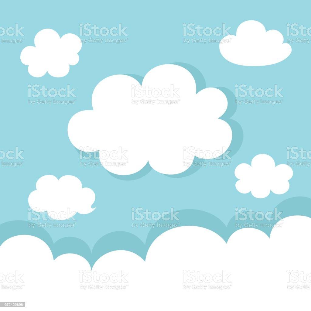 Set of white clouds on blue background set of white clouds on blue background – cliparts vectoriels et plus d'images de abstrait libre de droits