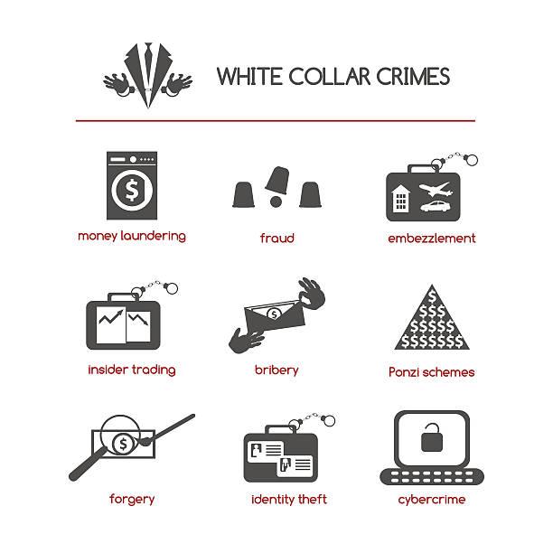 ilustrações de stock, clip art, desenhos animados e ícones de conjunto de ícones de crimes de colarinho branco - corruption