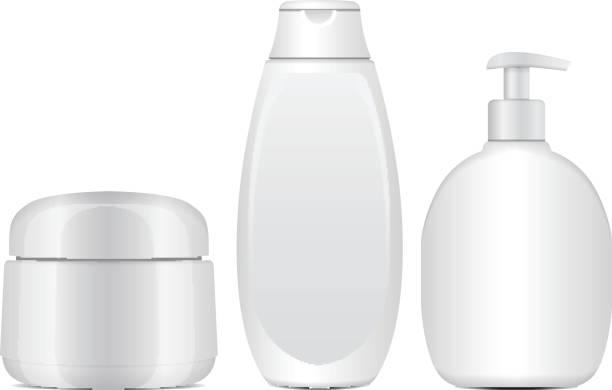 白化粧品ボトルのセットです。現実的な管やクリーム、軟膏、ローションの容器。シャンプー化粧品の小瓶。ベクトル図モックアップ - 体 洗う点のイラスト素材/クリップアート素材/マンガ素材/アイコン素材