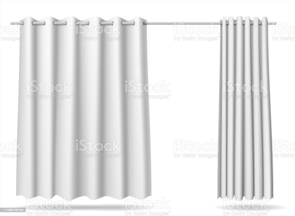 Vector graphics . A set of white curtains for changing rooms lockers...