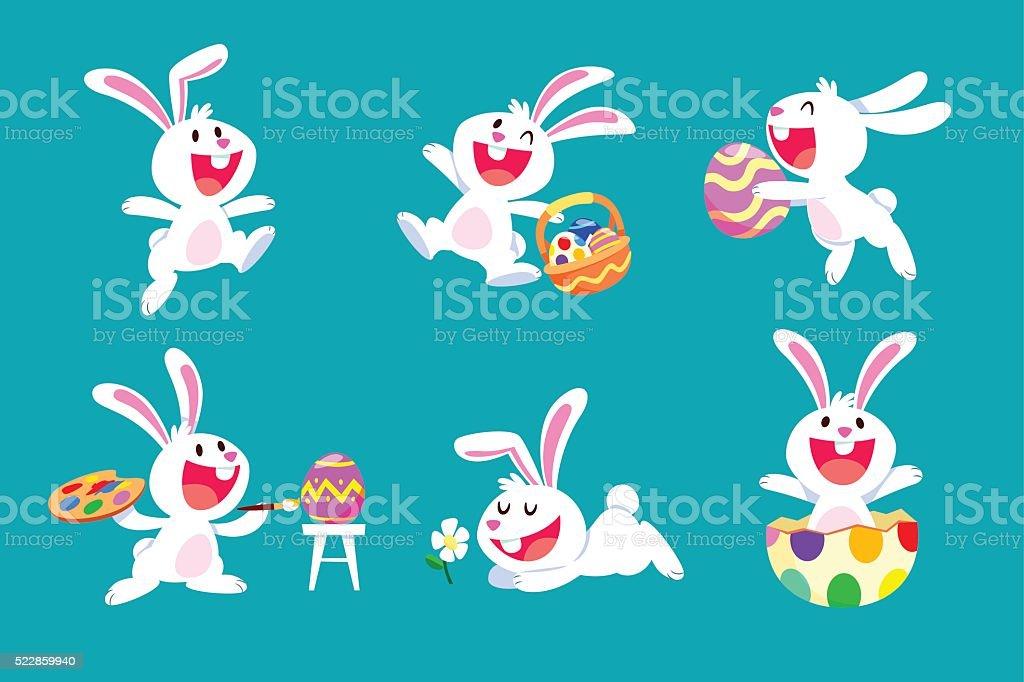 set of white easter rabbit in different poses vector art illustration