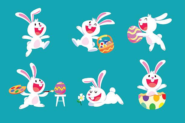 ein satz von weiße ostern hase in verschiedenen posen - kaninchen stock-grafiken, -clipart, -cartoons und -symbole