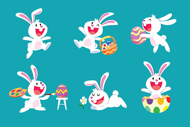 set of white easter rabbit in different poses - rabbit animal stock illustrations