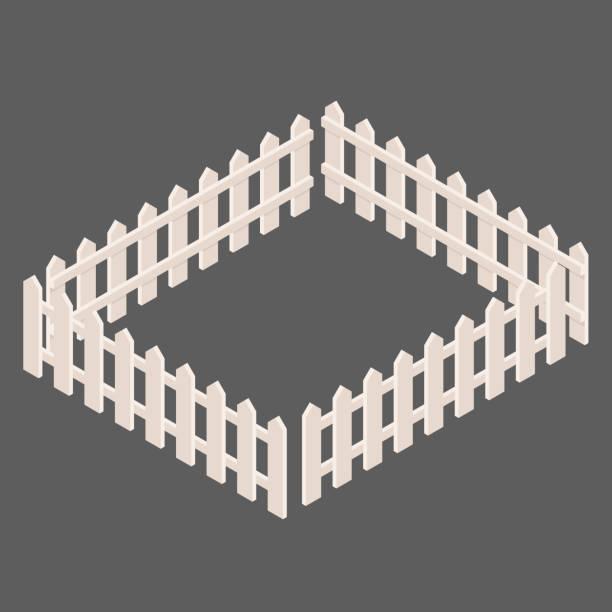 stockillustraties, clipart, cartoons en iconen met set witte hekken vectoren in isometrische weergave - fence