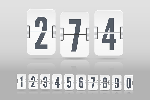 Set of white flip score board numbers with reflection floating on different height for countdown timer. Vector template