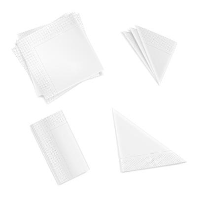 Set of white folded napkins square rectangular triangular isolated on white background. Realistic white paper napkins for table setting. 3d vector illustration