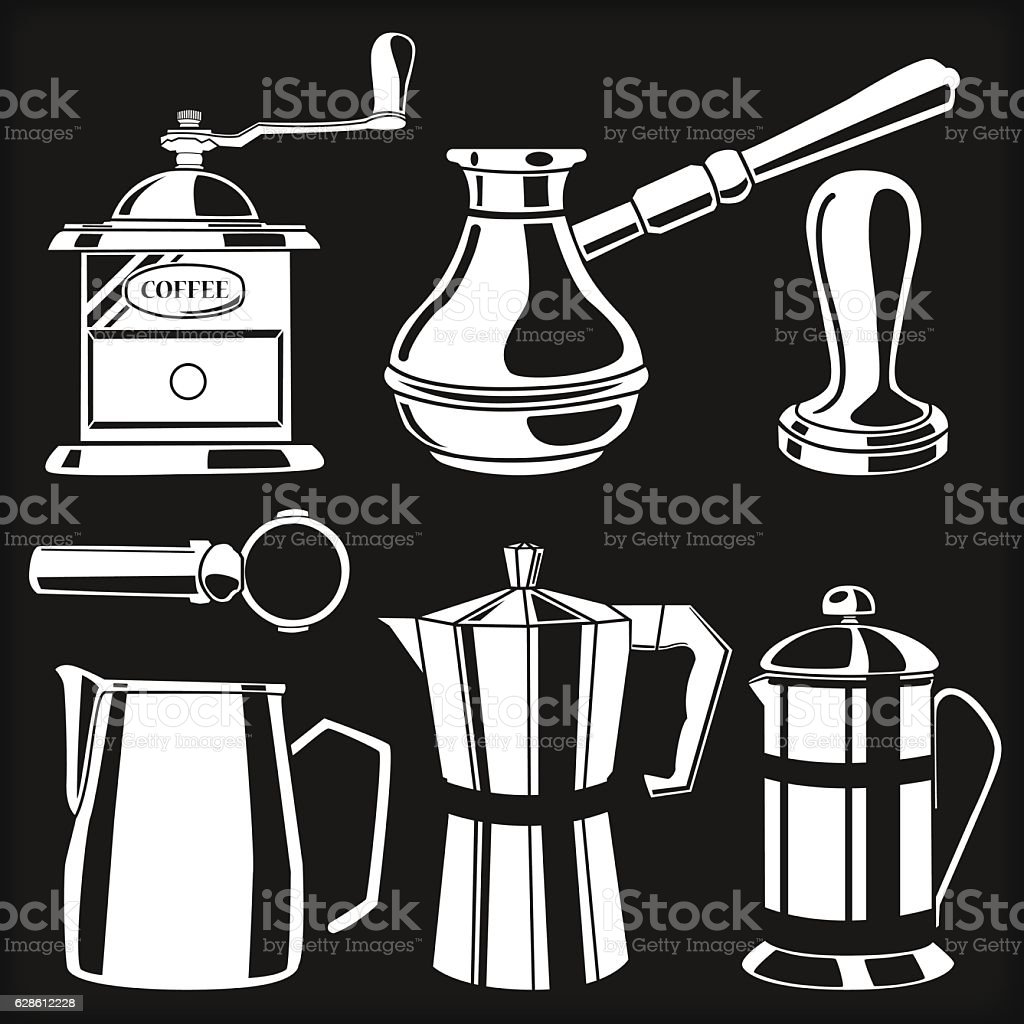 Set of white hand drawn coffee cups and french press - ilustración de arte vectorial