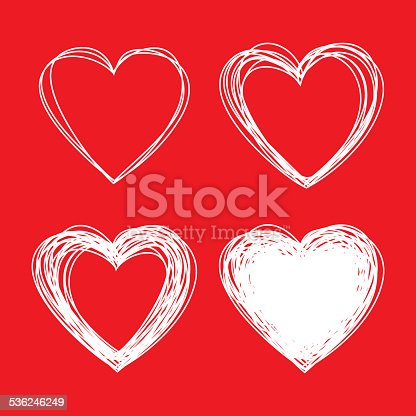istock Set of White Hand Drawn Scribble Hearts, valentines day 536246249