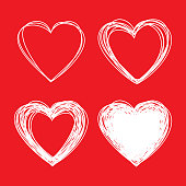 Set of White Hand Drawn Scribble Hearts, valentines day, vector design elements
