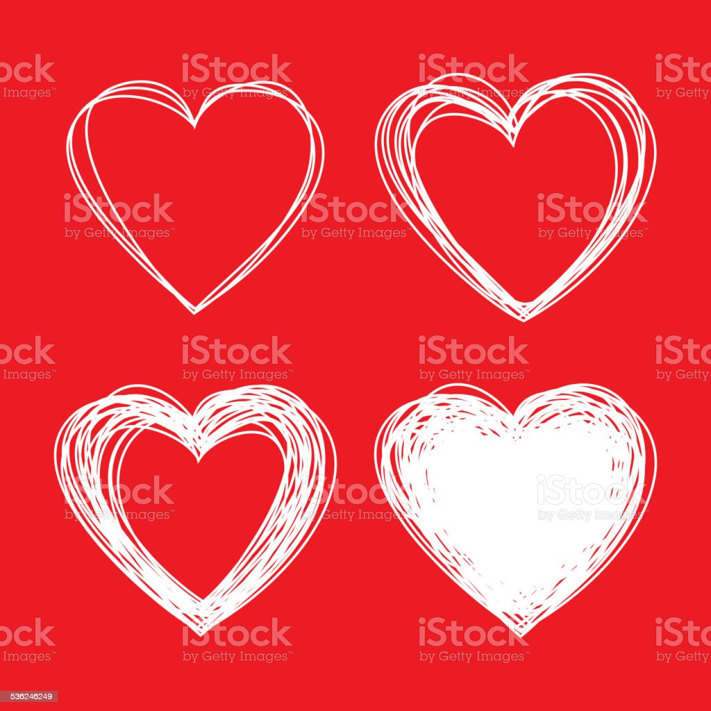 Set of White dibujados a mano esbozo corazón, día de San Valentín - ilustración de arte vectorial