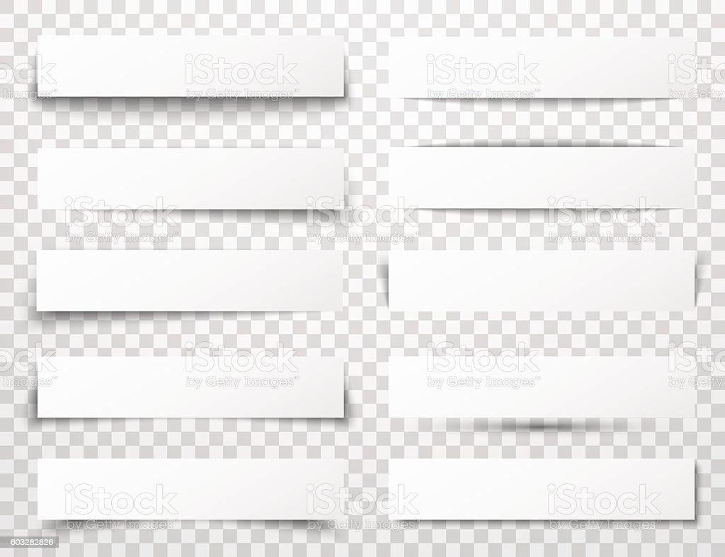 Set of white horizontal paper banners with different realistic shadows set of white horizontal paper banners with different realistic shadows vecteurs libres de droits et plus d'images vectorielles de abstrait libre de droits