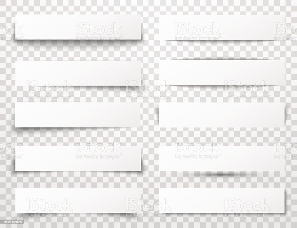 Set of white horizontal paper banners with different realistic shadows vector art illustration