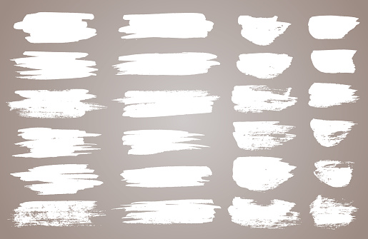 Set of white ink vector stains. Vector black paint, ink brush stroke, brush, line or round texture. Dirty artistic design element, box, frame or background for text