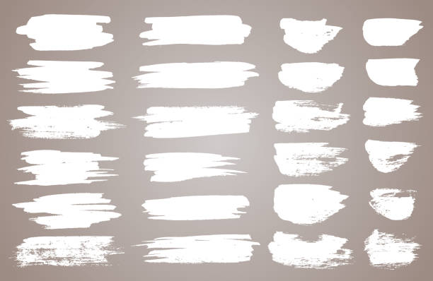 ilustrações de stock, clip art, desenhos animados e ícones de set of white ink vector stains. vector black paint, ink brush stroke, brush, line or round texture. dirty artistic design element, box, frame or background for text - pintura