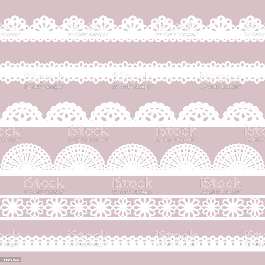 Set of white lace borders. vector art illustration