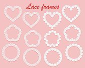 Set of white lace frames of various shapes. Ring, heart and flower. Openwork vintage elements isolated on a pink background. Vector illustration.