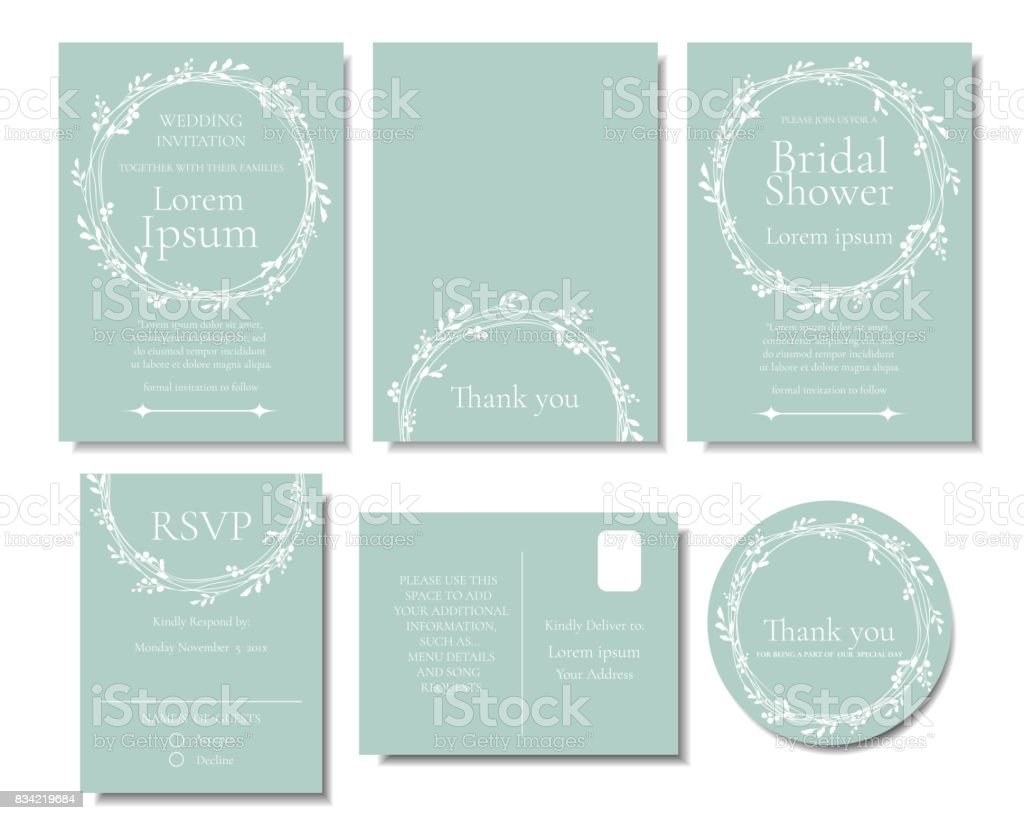Set Of White Leave Wreath On Green Mint Color Wedding