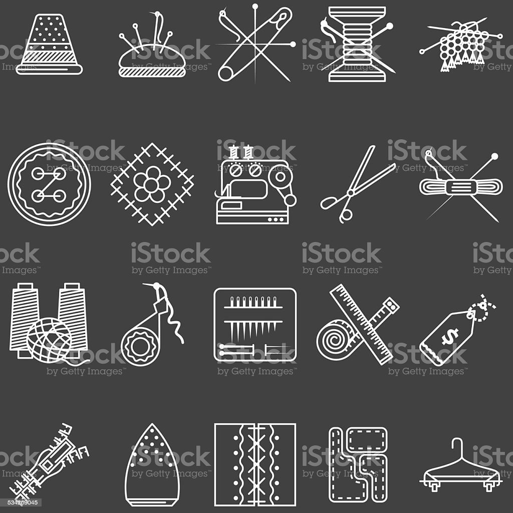 Set of white line vector icons for sewing vector art illustration