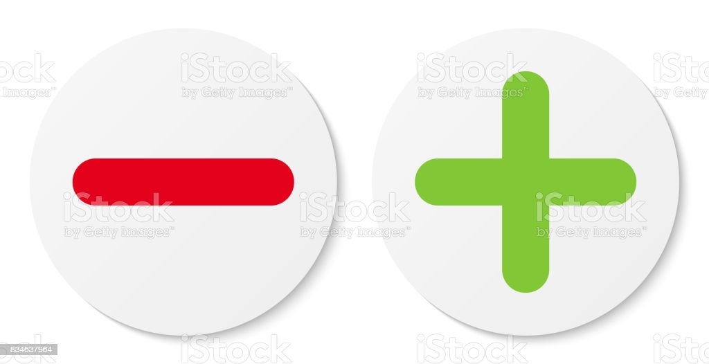 Set of white minus & plus signs icons, flat round buttons. vector art illustration