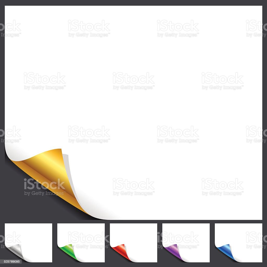 Set Of White Page Glossy Corners On Black vector art illustration