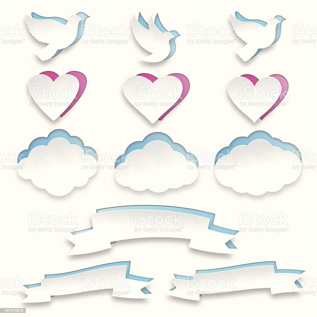 Set of white paper shapes – Doves, Hearts, Clouds and Scrolls royalty-free stock vector art