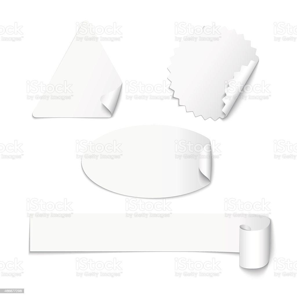 Set of white paper stickers vector art illustration