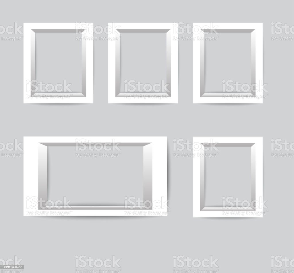 Conjunto De Marcos De Fotos Blancos Colección De Vectores De Marcos ...