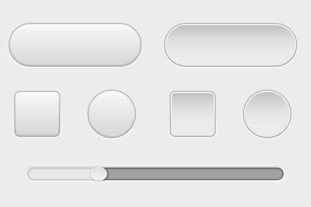 一套白色塑膠鈕扣。正常和推。帶滑動條。web 介面按鈕 - 按鈕 幅插畫檔、美工圖案、卡通及圖標