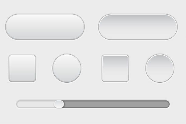 set of white plastic buttons. normal and pushed. with slider bar. web interface buttons - przycisk stock illustrations