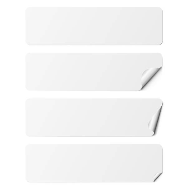 set of white rectangle adhesive stickers with a folded edges, isolated on white background. - naklejka stock illustrations