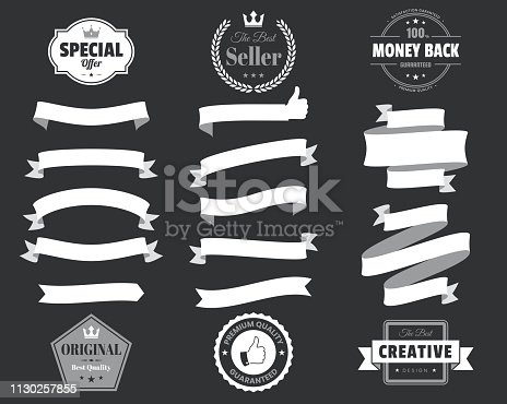 Set of White ribbons, banners, badges and labels, isolated on a black background. Elements for your design, with space for your text. Vector Illustration (EPS10, well layered and grouped). Easy to edit, manipulate, resize or colorize. Please do not hesitate to contact me if you have any questions, or need to customise the illustration. http://www.istockphoto.com/portfolio/bgblue