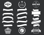Set of White Ribbons, Banners, badges, Labels - Design Elements on black background