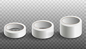 Set of white blank scotch adhesive tape rolls in three different sizes, realistic vector mockup illustration isolated on white background. Sticky package band template.