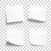 Set of white sheets of note paper isolated on transparent background. Four sticky notes. Vector illustration