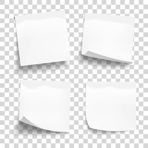 illustrazioni stock, clip art, cartoni animati e icone di tendenza di set of white sheets of note paper isolated on transparent background. four sticky notes. vector illustration. - biglietto adesivo