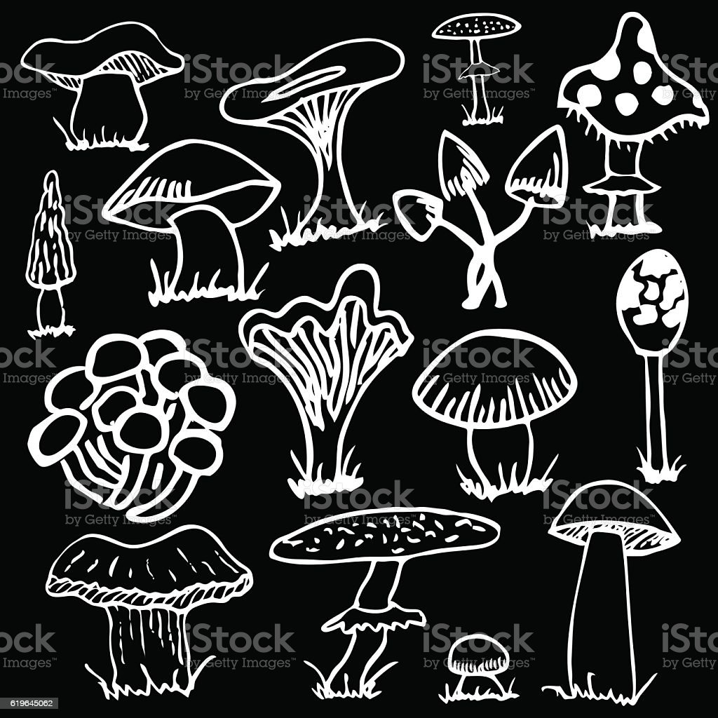 Set Of White Silhouettes Cute Cartoon Mushrooms On Black Background