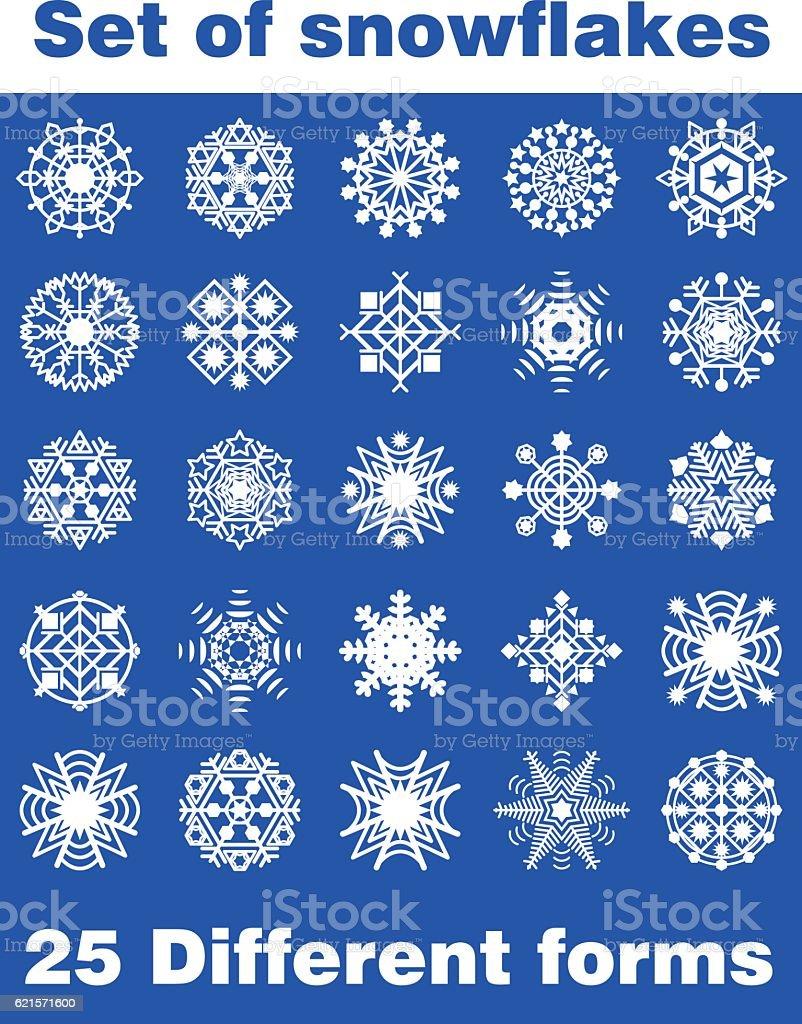 Set of white snowflakes on blue background. 25 different forms. set of white snowflakes on blue background 25 different forms – cliparts vectoriels et plus d'images de bleu libre de droits